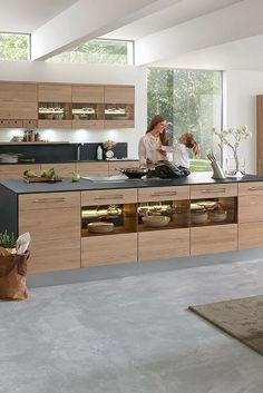 6 interior design ideas and kitchen pictures for modern wooden kitchens - Decor Kitchen Room Design, Kitchen Cabinet Design, Home Decor Kitchen, Interior Design Kitchen, Modern Kitchen Cabinets, Kitchen Island, Kitchen Wood, Contemporary Kitchen Design, Kitchen Pictures