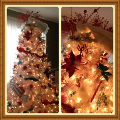 White Christmas tree. Red and turquoise decorations!