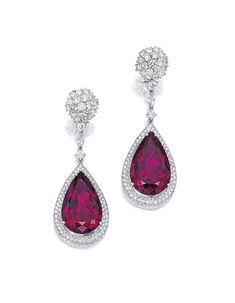 Pair of Rubellite and Diamond Pendent Earrings | lot | Sotheby's