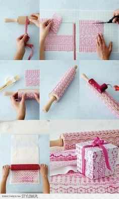 lace print - make your own wrapping paper