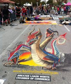 Three headed 3D dragon by Amazing Street Paint.