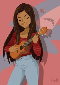 Woo that's such a pretty drawing! Ukulele Drawing, Ukulele Art, Troye Silvan, Person Drawing, Pretty Drawings, Arte Horror, Cute Images, Character Inspiration, Character Design