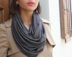 SALE Scarves Loop Scarf Infinity Scarf Dark Grey Scarf Bohemian Scarf Scarf Women Cowl Scarf Winter Scarf Unique Scarves Wife Gift for Her Boho Outfits, Scarf Sale, Grey Scarf, Loop Scarf, Summer Scarves, Models, Gifts For Wife, Womens Scarves, Fashion Boutique