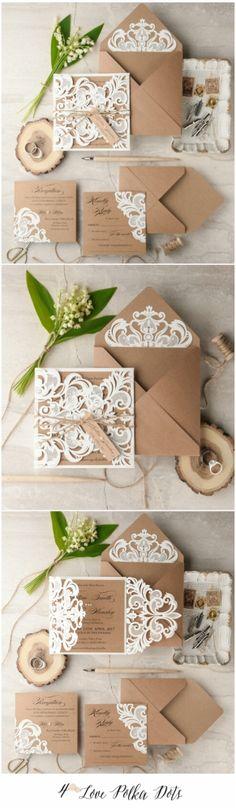 Lace laser cut elegant wedding invitation #weddingideas #wedding #lace #lasercut #elegant #eco #ecobrown #white