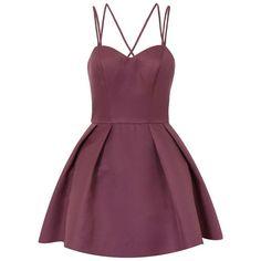 *Chi Chi London Petite Purple Strappy Mini Dress ($39) ❤ liked on Polyvore featuring dresses, vestidos, purple, petite, short purple dresses, purple cocktail dresses, strappy dress, purple dress and short dresses