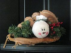 My kind of decoration! lol baseball snowman in glove wood-n-stitches Christmas Crafts For Kids, Christmas Snowman, Christmas Projects, Winter Christmas, Holiday Crafts, Holiday Fun, Christmas Holidays, Christmas Gifts, Christmas Ornaments