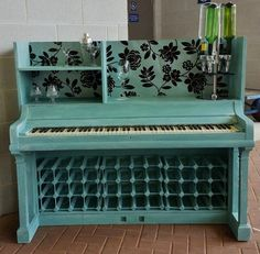 Another Mans Treasure, a 1900's Piano given a new lease of life and transformed into a Piano Bar with a wine rack. On Etsy.