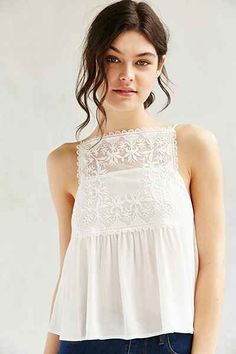 Kimchi Blue Embroidered Square Neck Cami - Urban Outfitters