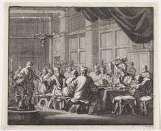 Jan Luyken | Bisschoppen aan tafel voor een drinkgelag, Jan Luyken, 1701 | Rondom een langwerpige tafel een groep vroegchristelijke bisschoppen. Ze doen zich te goed aan drank en eten.