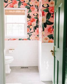 Items similar to Flower Party Traditional Wallpaper - Prepasted & Removable on Etsy Wallpaper Samples, Fabric Wallpaper, Bathroom Colors, Small Bathroom, Peach Bathroom, Relaxing Bathroom, Boho Bathroom, Downstairs Bathroom, Bathroom Ideas