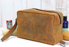 Our classic men's leather wash bag is handmade made from our distressed leather with enough space for your all your toiletries and more - perfect for those weekends away and holidays. Men's Leather, Distressed Leather, Unique Valentines Day Gifts, Best Travel Accessories, Wash Bags, Classic Man, Travel Gifts, Toiletry Bag, Vegetable Tanned Leather