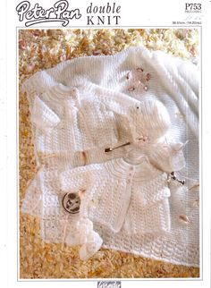 Genuine Vintage Wendy Peter Pan 753 Ultra-Pretty Christening Baby Lacy Complete Set Knitting Pattern