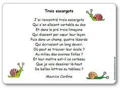 """Poésie """"Trois escargots"""" de Maurice Carême. Découvrir le tableau Pinterest entièrement consacré au poète belge https://www.pinterest.com/sandradulier/maurice-car%C3%AAme/"""