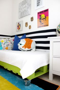 Modern Boys Room featuring DIY Pallet Bed - great space-saver!
