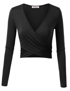 KIRA Women's Deep V Neck Long Sleeve Unique Cross Wrap Slim Fit Crop Tops Product Information Brand Name: KIRA Material: Item Weight: About Measurements: Small- Length: Medium- Length: Large- Length: X-Large- Length: Tips - Girly apparel Cropped Tops, Black Crop Tops, Estilo Hippie, Wrap Shirt, Herren T Shirt, Long Sleeve Crop Top, V Neck Tops, Shirt Sleeves, Deep