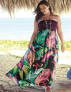 Wow-worthy maxi dress flaunts femininity with a smocked bodice and toe-touching chiffon skirt. Fully lined skirt offers a beautiful drape that's sure to turn heads. Go strapless or wear with optional straps for versatile looks.  lanebryant.com