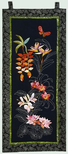 """""""Sylvia's Tropical Garden"""" by Pat Reynolds. A mixture of appliqué and sashiko. This really works."""