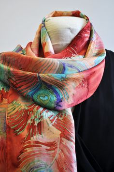 Hand Painted Silk Scarf with Peacock Feather by SilkCreationsSMH