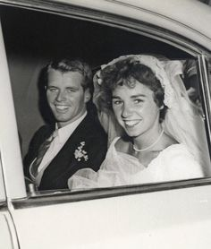 Robert F. Kennedy and Ethel Kennedy at St. Mary's Roman Catholic Church in Greenwich, CT, on June 17th, 1950. Photo Credit: Rory Kennedy/courtesy HBO
