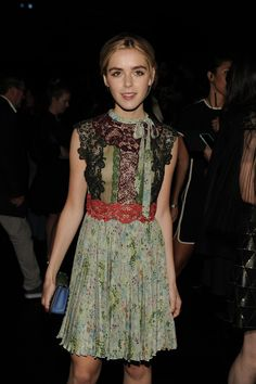 Kiernan Shipka in a Valentino look from the Spring 2016 collection to the Women's Spring/Summer 2016 fashion show on October 6th, 2015.