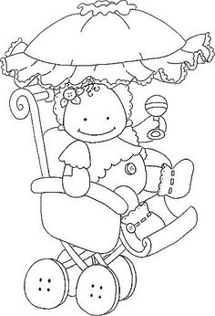 Coloring for adults - Kleuren voor volwassenen Embroidery Cards, Embroidery Applique, Embroidery Patterns, Baby Coloring Pages, Coloring Books, Colouring, Gravure Laser, Baby Shower Clipart, Baby Clip Art