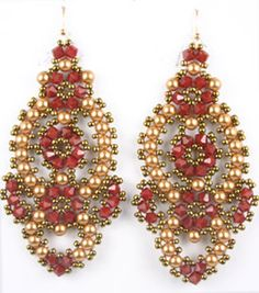 interesting red with goldish pearls and bronzish...............................Flamenco Earring Kit Beads Gone Wild