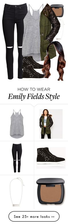 """""""Emily Fields inspired outfit with army/leather jacket"""" by liarsstyle on Polyvore featuring H&M, Miss Selfridge, Bare Escentuals, Vero Moda, Forever 21, school, travel, college and WF"""