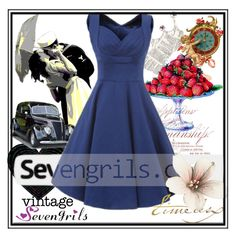 """Sevengirls#20"" by bamra ❤ liked on Polyvore featuring vintage"