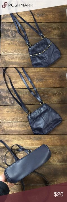 Navy blue double strap bag *Navy blue with gold hardware detail    *Interior and exterior functioning zipper pocket  *2 interior compartments  *Double over the shoulder straps Bags Shoulder Bags