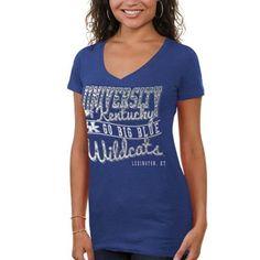 Kentucky Wildcats Women's Inner Chevron Heathered V-Neck T-Shirt - Blue