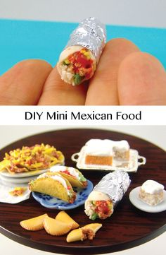 Learn how to make miniature Mexican food out of polymer clay with this… Polymer Clay Miniatures, Polymer Clay Creations, Polymer Clay Crafts, Dollhouse Miniatures, Dollhouse Design, Diy Dollhouse, Polymer Clay Tutorials, Barbie Food, Doll Food