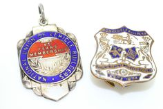 Vintage Antique Silver Enamel Fob Medal Fattorini & Sons Ltd +another pin NR
