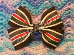 Brown Green Red and Ivory Basic Bow by PeekABowBows on Etsy, $3.00