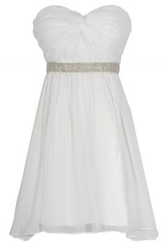 Twisted Chiffon Embellished Designer Dress in White  www.lilyboutique.com