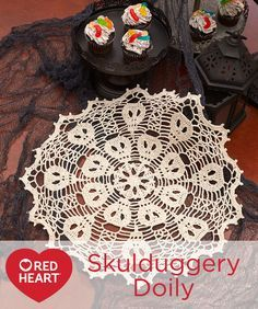 Skulduggery Doily Free Crochet Pattern in Aunt Lydia's Fashion 3 Crochet Thread -- Designed with amazing artfulness, this gorgeous doily has spooky skulls hiding craftily in its handiwork. We've used the larger Fashion 3 crochet thread so that it will take less time than you might think.