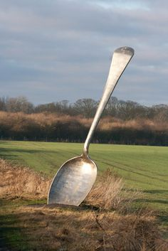 """Sculpture - A giant spoon piece of Art called """" Eat For England """" on the Wildspace Network Art Trail Sculpture Metal, Outdoor Sculpture, Outdoor Art, Sculpture Ideas, Land Art, Giant Spoon, Art Conceptual, Performance Artistique, Graffiti"""