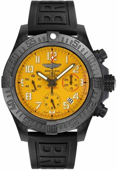 Breitling Avenger Hurricane Cobra Yellow Dial Men's Watch on Sale - Best Breitling Prices Online with Free Overnight Shipping Breitling Avenger, Breitling Watches, Mens Sport Watches, Luxury Watches For Men, Fossil Watches, Cool Watches, Men's Watches, Ladies Watches, Hurricane Watch