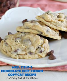 Field's Chocolate Chip Cookie Copycat Recipe – Can't Stay Out of the Kitchen Mrs Fields Chocolate Chip Cookies, Best Chocolate Chip Cookie, Semi Sweet Chocolate Chips, Oven Recipes, Copycat Recipes, Blueberry Cobbler Recipes, Cookie Recipes, Dessert Recipes, Top Secret Recipes