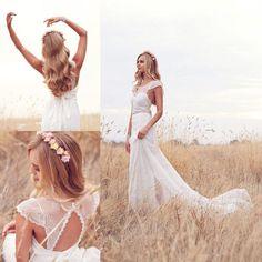 Neu Spitze Chiffon Strand Romantic Brautkleid Hochzeitskleid Gr:32 34 36 38 40++