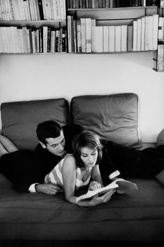 FRANCE. French actors Paul GUERS and Françoise BRION reading at home. 1958.