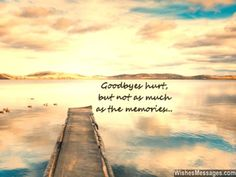 Goodbyes hurt, but not as much as the memories... via WishesMessages.com