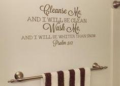 Bathroom Decor, Cleanse Me Wash Me, Vinyl Wall Decal, Bible Verse, Bathroom Sticker, Home Decor - Arctic Blue