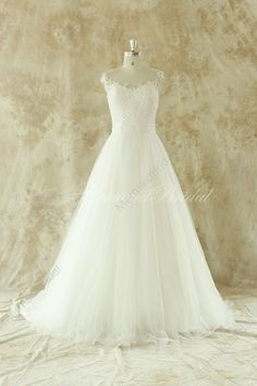 Romantic Ivory A line lace wedding dress with sheer back  Fabric: Tulle Embellishment : Lace Silhouette: A line Neckline: Sweetheart Sleeves: