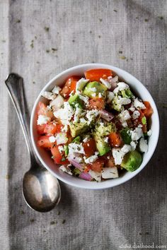 I'd eat this Avocado Feta Salsa as a delicious, healthy salad to have for lunch :) Light but filling so skip the tortilla chips! Re-pin now, check it later.