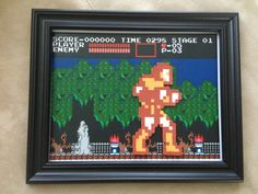 Simon Belmont Castlevania 8 Bit perler bead pixel art on background