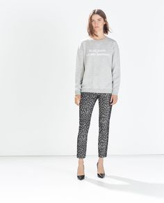 HIGH WAISTED JACQUARD PATTERNED TROUSERS-Pleats-Trousers-WOMAN-SALE | ZARA United States