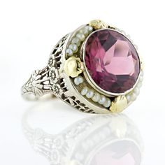 Vintage tourmaline and seed pearl filigree ring, circa 1930's. Lang Antiques archives.