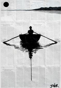 """Artist Loui Jover creates his pen and ink drawings on vintage book paper because he believes that it adds to the fragility of the works, saying """"the wind may blow them away at any moment."""" #inkdrawings"""