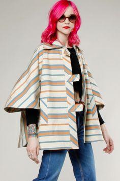 Vintage 70s Striped Cape Coat #cape #70s #vintage #thriftedandmodern