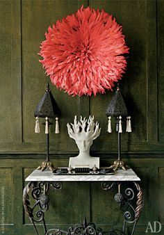 JuJu hat, XVII century italian table, sculpture by Oriel Harwood,